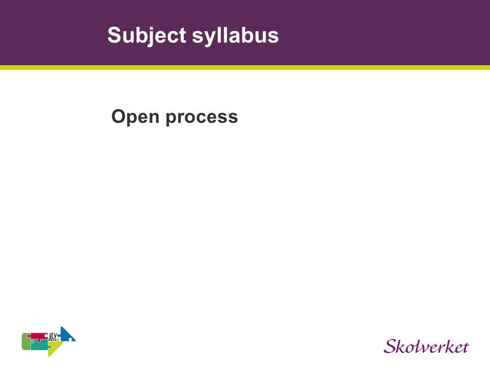 Subject syllabus Open process