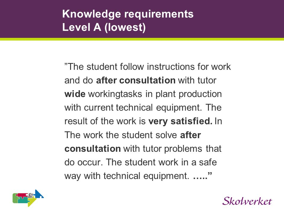 Knowledge requirements Level A (lowest) The student follow instructions for work and do after consultation with tutor wide workingtasks in plant production with current technical equipment.