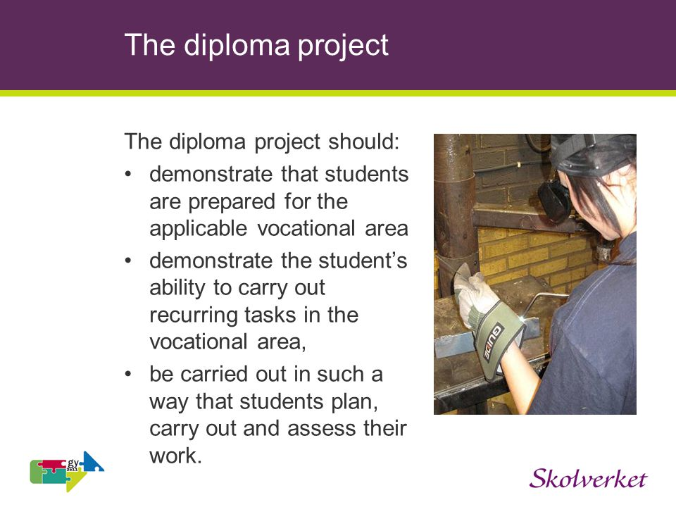 The diploma project The diploma project should: demonstrate that students are prepared for the applicable vocational area demonstrate the students abi
