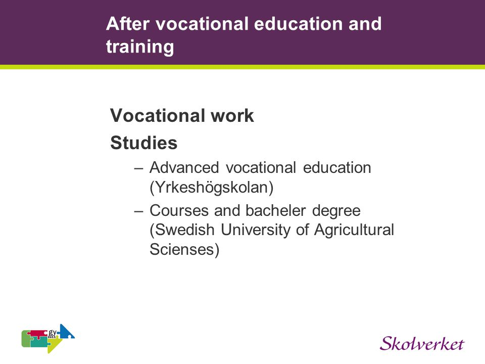 After vocational education and training Vocational work Studies –Advanced vocational education (Yrkeshögskolan) –Courses and bacheler degree (Swedish University of Agricultural Scienses)