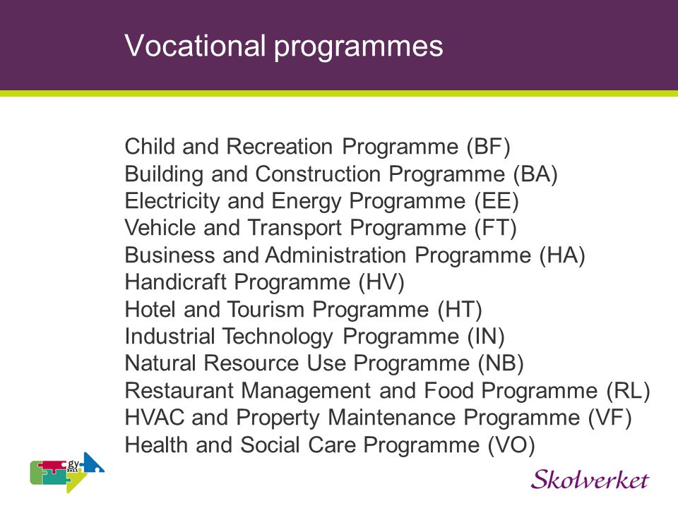 Vocational programmes Child and Recreation Programme (BF) Building and Construction Programme (BA) Electricity and Energy Programme (EE) Vehicle and Transport Programme (FT) Business and Administration Programme (HA) Handicraft Programme (HV) Hotel and Tourism Programme (HT) Industrial Technology Programme (IN) Natural Resource Use Programme (NB) Restaurant Management and Food Programme (RL) HVAC and Property Maintenance Programme (VF) Health and Social Care Programme (VO)