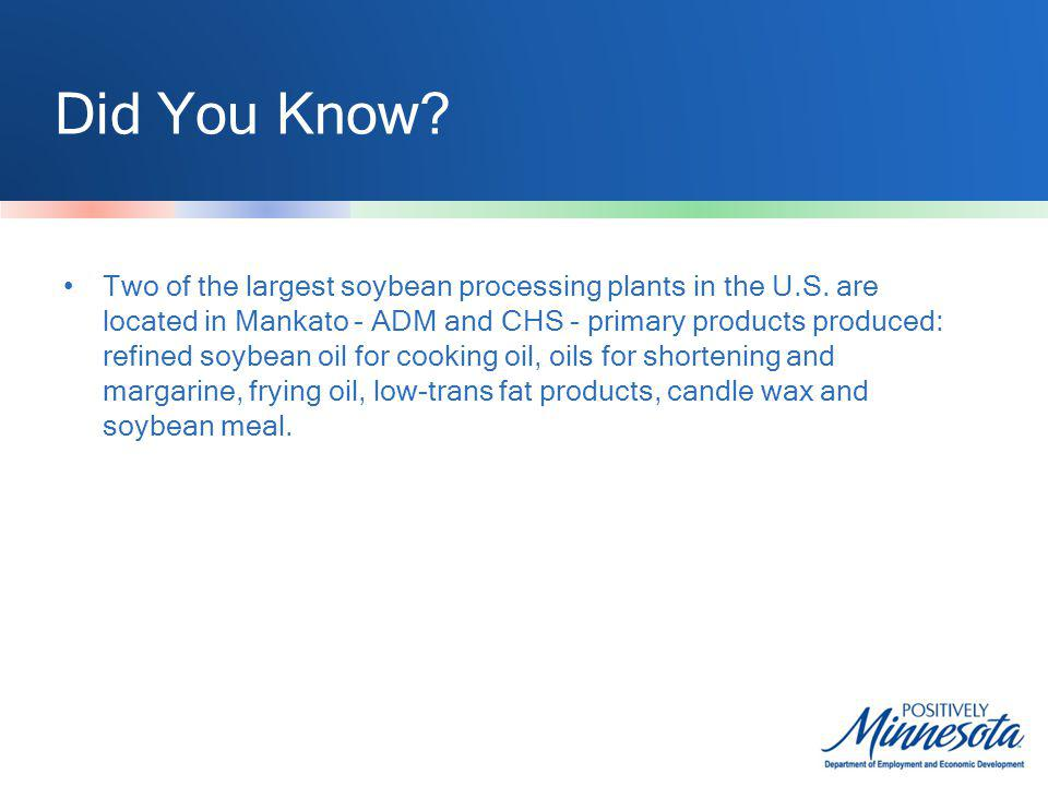 Did You Know. Two of the largest soybean processing plants in the U.S.