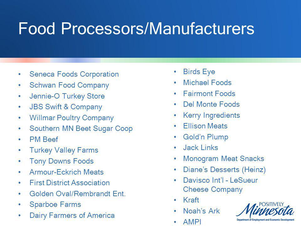 Food Processors/Manufacturers Seneca Foods Corporation Schwan Food Company Jennie-O Turkey Store JBS Swift & Company Willmar Poultry Company Southern