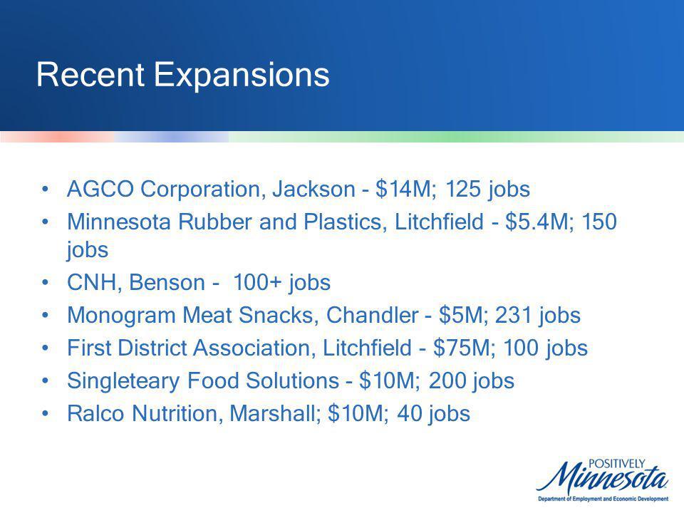 Recent Expansions AGCO Corporation, Jackson - $14M; 125 jobs Minnesota Rubber and Plastics, Litchfield - $5.4M; 150 jobs CNH, Benson - 100+ jobs Monog