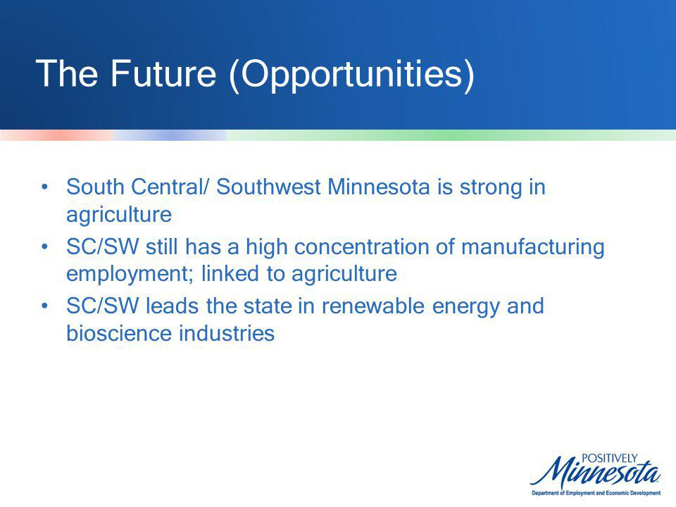 The Future (Opportunities) South Central/ Southwest Minnesota is strong in agriculture SC/SW still has a high concentration of manufacturing employment; linked to agriculture SC/SW leads the state in renewable energy and bioscience industries