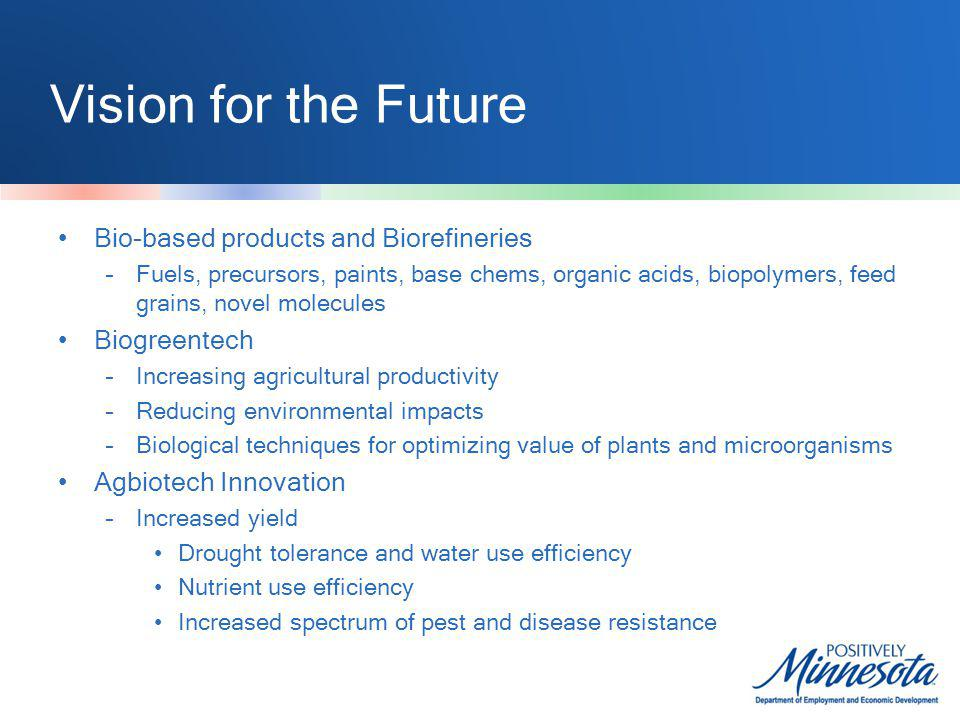 Vision for the Future Bio-based products and Biorefineries –Fuels, precursors, paints, base chems, organic acids, biopolymers, feed grains, novel molecules Biogreentech –Increasing agricultural productivity –Reducing environmental impacts –Biological techniques for optimizing value of plants and microorganisms Agbiotech Innovation –Increased yield Drought tolerance and water use efficiency Nutrient use efficiency Increased spectrum of pest and disease resistance