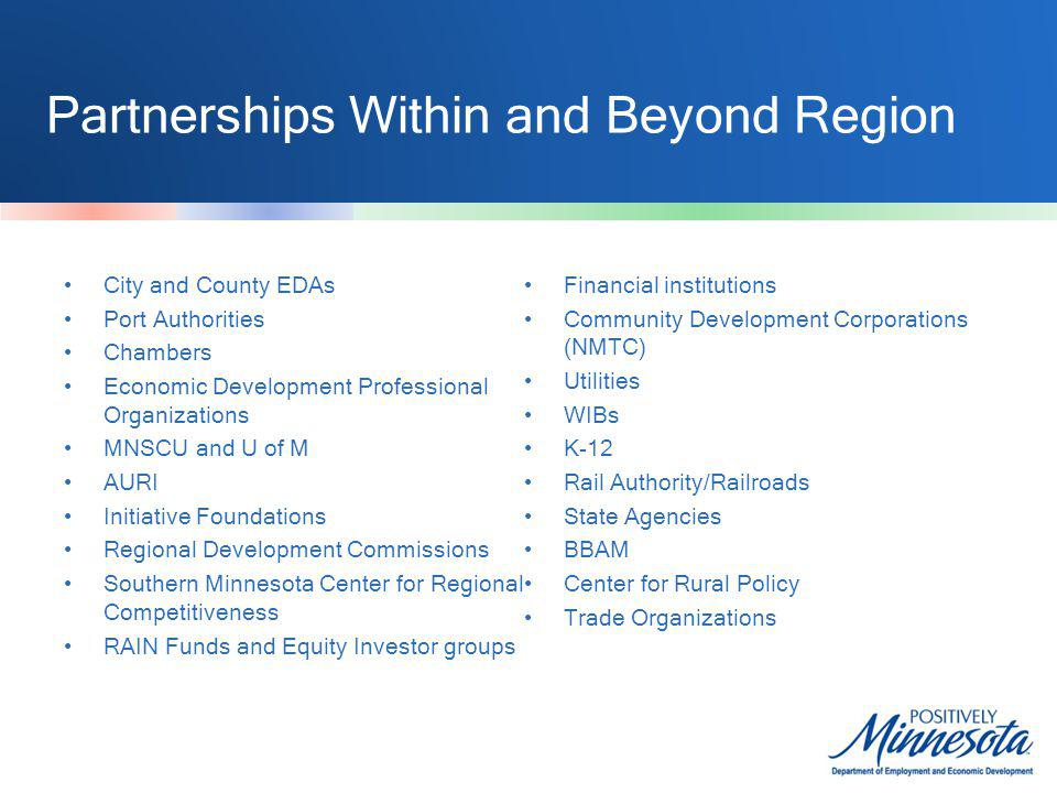 Partnerships Within and Beyond Region City and County EDAs Port Authorities Chambers Economic Development Professional Organizations MNSCU and U of M