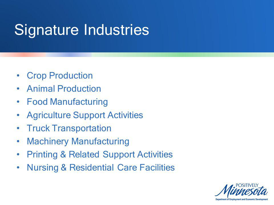 Signature Industries Crop Production Animal Production Food Manufacturing Agriculture Support Activities Truck Transportation Machinery Manufacturing