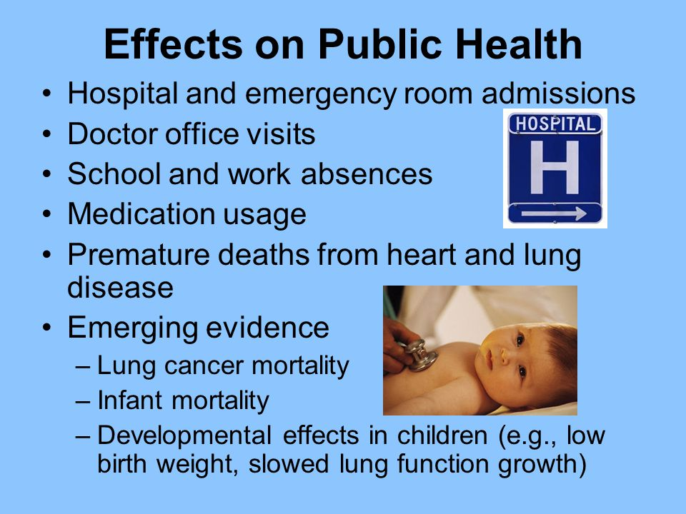Effects on Public Health Hospital and emergency room admissions Doctor office visits School and work absences Medication usage Premature deaths from heart and lung disease Emerging evidence –Lung cancer mortality –Infant mortality –Developmental effects in children (e.g., low birth weight, slowed lung function growth)