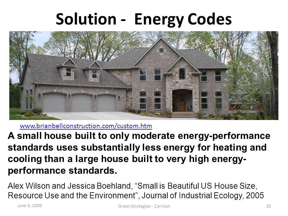 Solution - Energy Codes www.brianbellconstruction.com/custom.htmwww.brianbellconstruction.com/custom.htm 4350 SF Energy Efficient Home A small house b