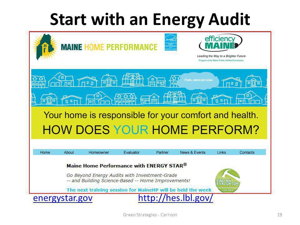 Start with an Energy Audit energystar.govhttp://hes.lbl.gov/ 19Green Strategies - Carroon
