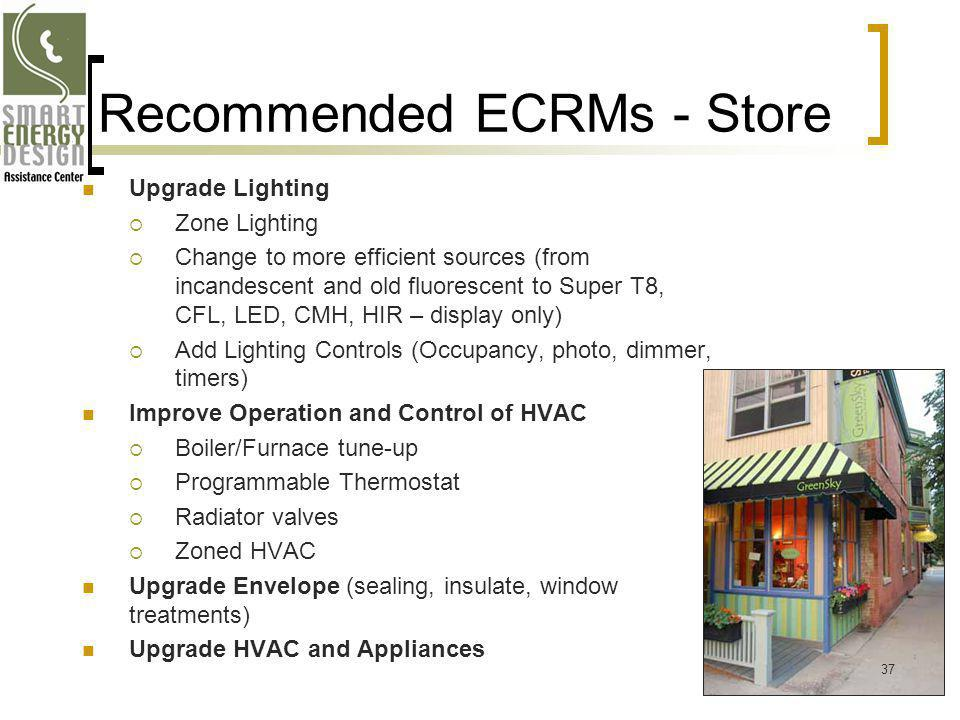 Recommended ECRMs - Store Upgrade Lighting Zone Lighting Change to more efficient sources (from incandescent and old fluorescent to Super T8, CFL, LED