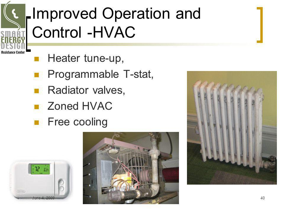 Improved Operation and Control -HVAC Heater tune-up, Programmable T-stat, Radiator valves, Zoned HVAC Free cooling June 4, 200940Green Strategies - Ca