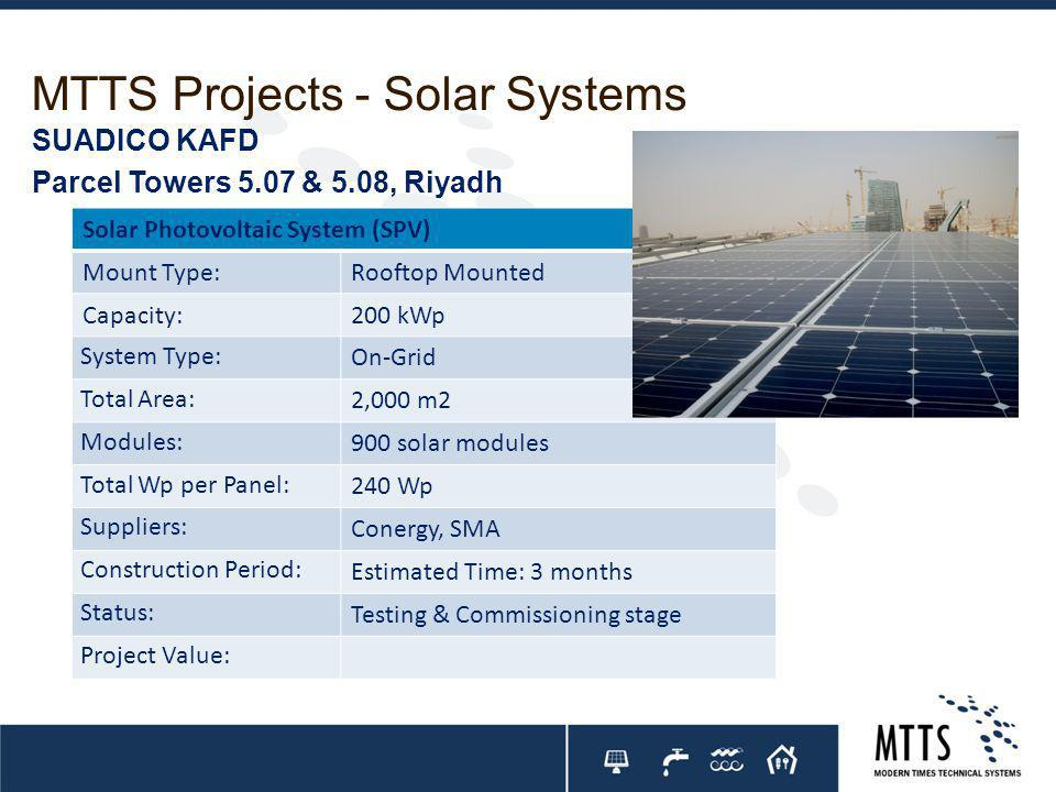 MTTS Projects - Solar Systems Solar Photovoltaic System (SPV) Mount Type:Rooftop Mounted Capacity:200 kWp System Type: On-Grid Total Area: 2,000 m2 Modules: 900 solar modules Total Wp per Panel: 240 Wp Suppliers: Conergy, SMA Construction Period: Estimated Time: 3 months Status: Testing & Commissioning stage Project Value: SUADICO KAFD Parcel Towers 5.07 & 5.08, Riyadh