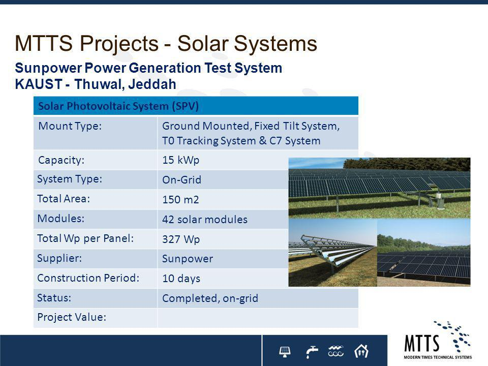 MTTS Projects - Solar Systems Solar Photovoltaic System (SPV) Mount Type:Ground Mounted, Fixed Tilt System, T0 Tracking System & C7 System Capacity:15 kWp System Type: On-Grid Total Area: 150 m2 Modules: 42 solar modules Total Wp per Panel: 327 Wp Supplier: Sunpower Construction Period: 10 days Status: Completed, on-grid Project Value: Sunpower Power Generation Test System KAUST - Thuwal, Jeddah