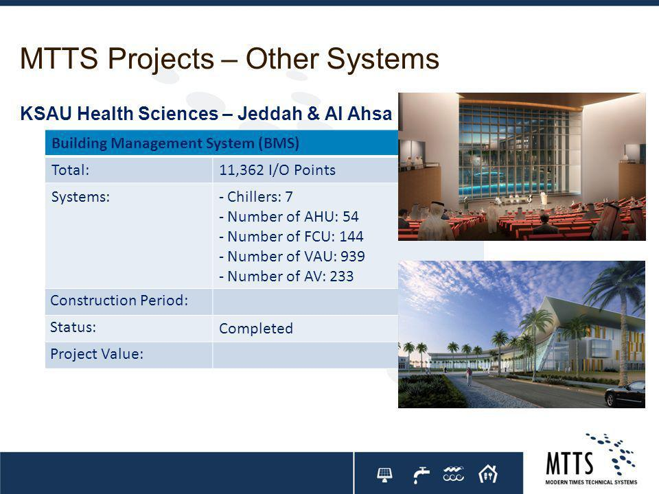 MTTS Projects – Other Systems Building Management System (BMS) Total:11,362 I/O Points Systems:- Chillers: 7 - Number of AHU: 54 - Number of FCU: 144 - Number of VAU: 939 - Number of AV: 233 Construction Period: Status: Completed Project Value: KSAU Health Sciences – Jeddah & Al Ahsa