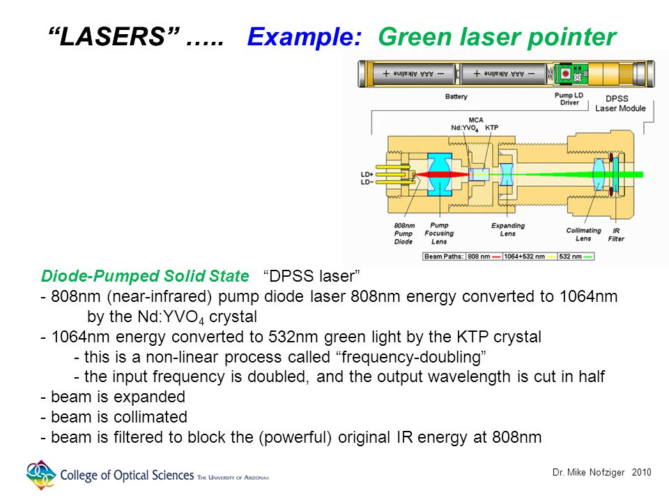 Dr. Mike Nofziger 2010 LASERS Diode-Pumped Solid State DPSS laser - 808nm (near-infrared) pump diode laser 808nm energy converted to 1064nm by the Nd: