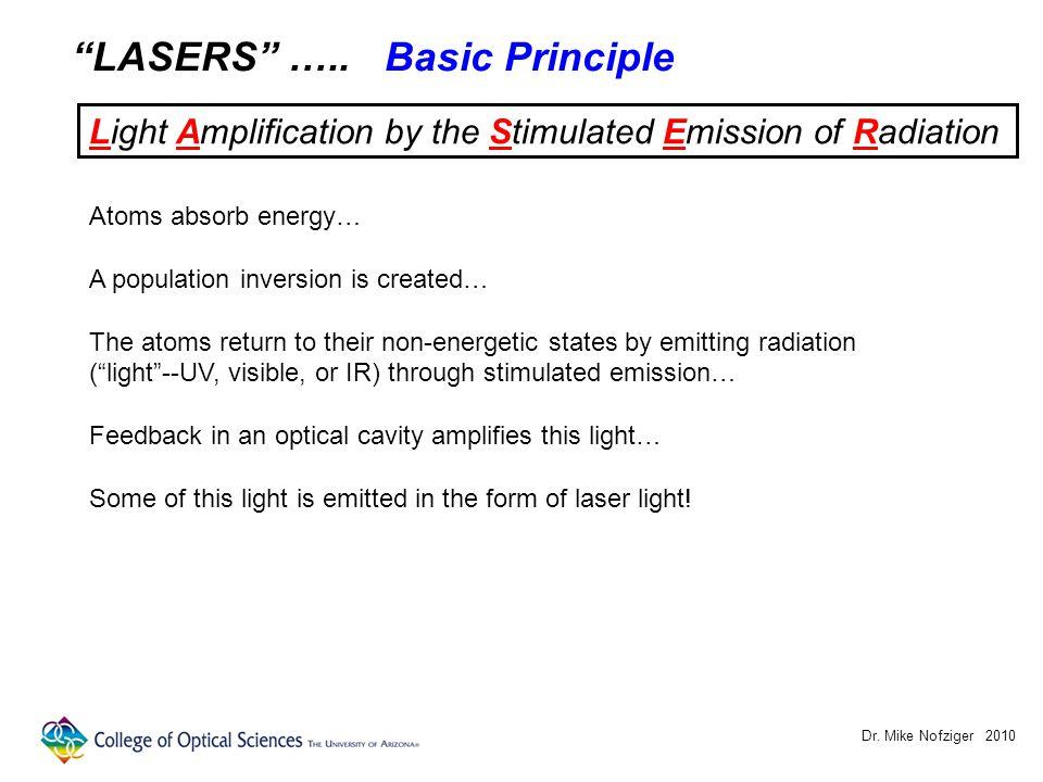 Dr. Mike Nofziger 2010 LASERS ….. Stimulated Emission