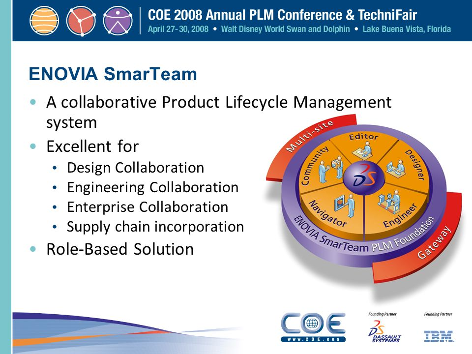 ENOVIA SmarTeam A collaborative Product Lifecycle Management system Excellent for Design Collaboration Engineering Collaboration Enterprise Collaborat