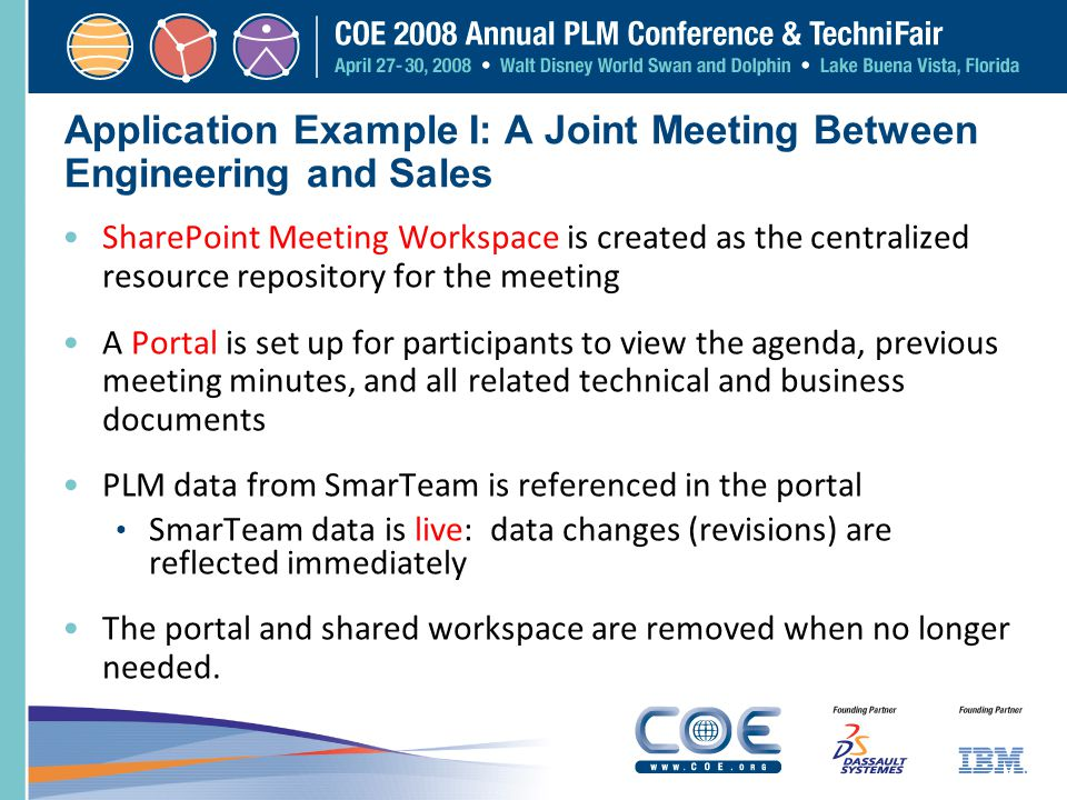 Application Example I: A Joint Meeting Between Engineering and Sales SharePoint Meeting Workspace is created as the centralized resource repository fo