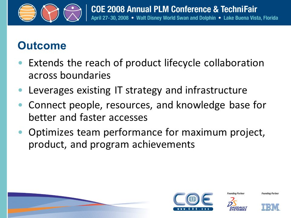 Outcome Extends the reach of product lifecycle collaboration across boundaries Leverages existing IT strategy and infrastructure Connect people, resou