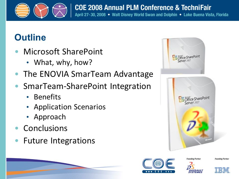 Outline Microsoft SharePoint What, why, how? The ENOVIA SmarTeam Advantage SmarTeam-SharePoint Integration Benefits Application Scenarios Approach Con