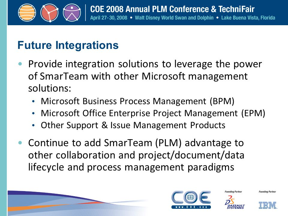 Future Integrations Provide integration solutions to leverage the power of SmarTeam with other Microsoft management solutions: Microsoft Business Proc