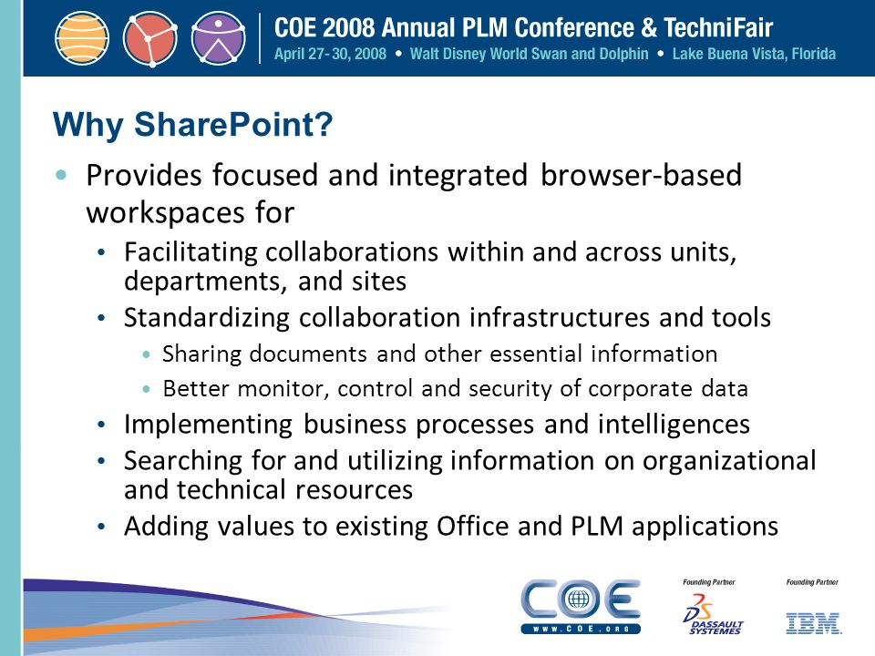 Why SharePoint? Provides focused and integrated browser-based workspaces for Facilitating collaborations within and across units, departments, and sit