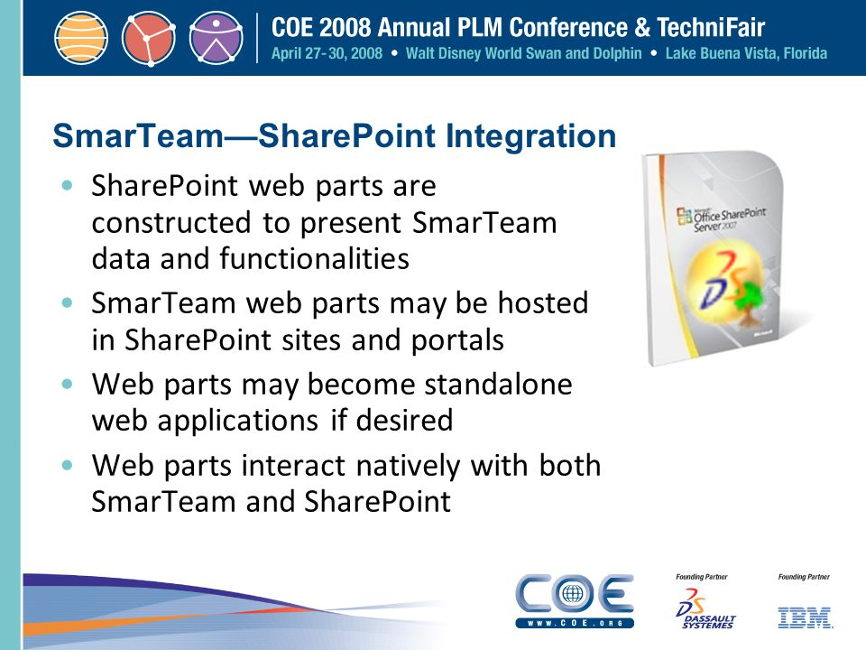 SmarTeamSharePoint Integration SharePoint web parts are constructed to present SmarTeam data and functionalities SmarTeam web parts may be hosted in S