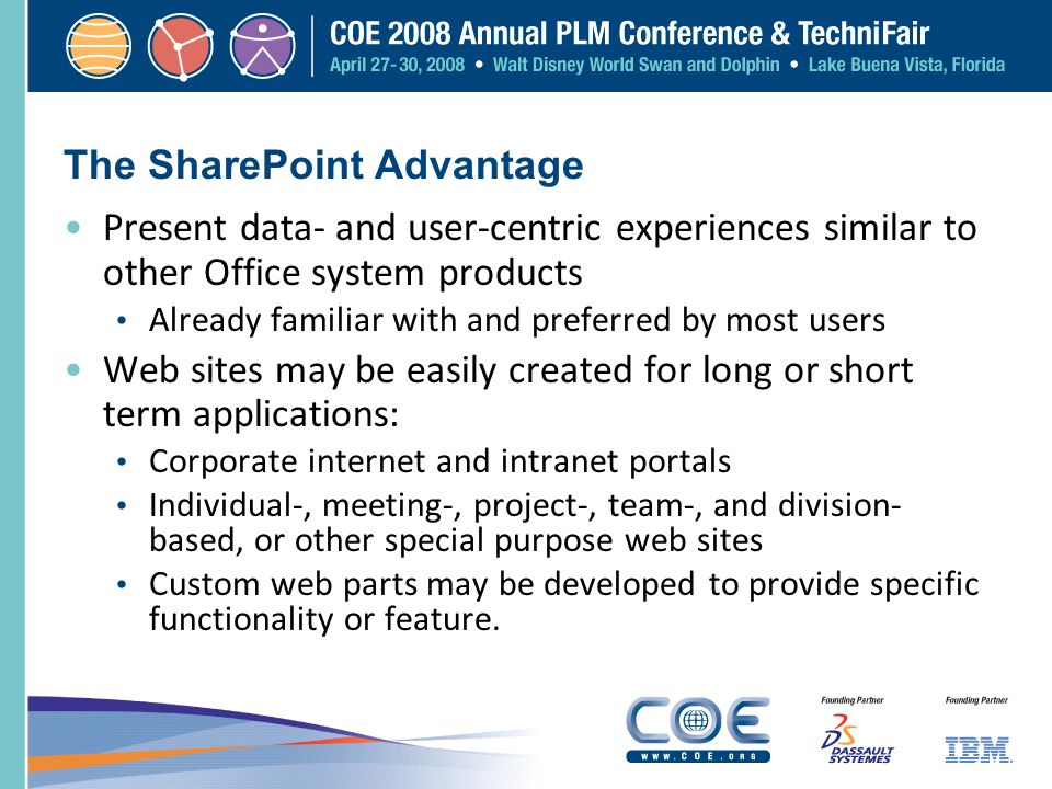 The SharePoint Advantage Present data- and user-centric experiences similar to other Office system products Already familiar with and preferred by mos