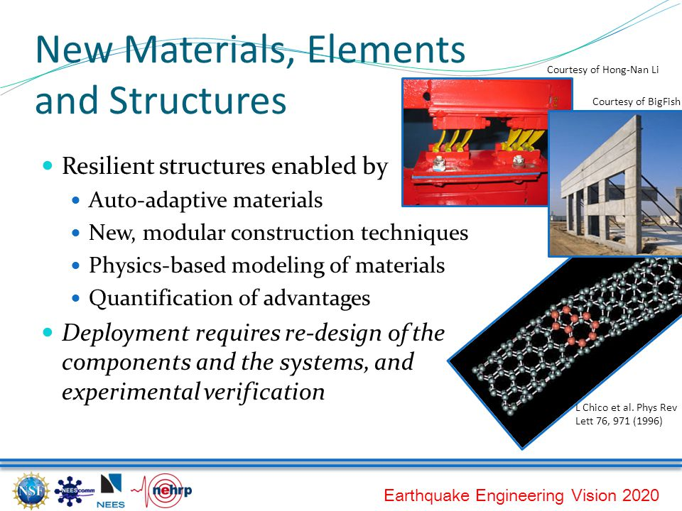 Earthquake Engineering Vision 2020 New Materials, Elements and Structures Resilient structures enabled by Auto-adaptive materials New, modular construction techniques Physics-based modeling of materials Quantification of advantages Deployment requires re-design of the components and the systems, and experimental verification Courtesy of BigFish L Chico et al.