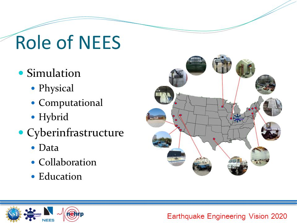 Earthquake Engineering Vision 2020 Role of NEES Simulation Physical Computational Hybrid Cyberinfrastructure Data Collaboration Education