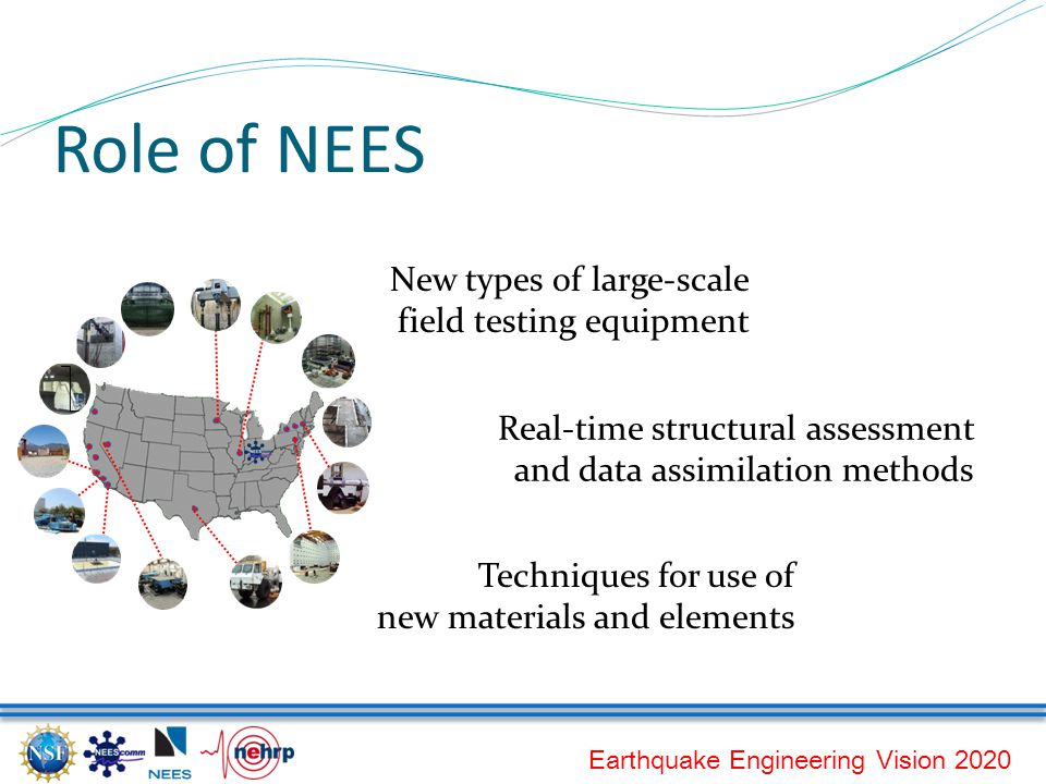 Earthquake Engineering Vision 2020 Role of NEES Techniques for use of new materials and elements Real-time structural assessment and data assimilation methods New types of large-scale field testing equipment