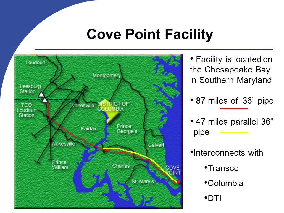 Facility is locatedon the Chesapeake Bay in Southern Maryland 87 miles of 36 pipe 47 miles parallel 36 pipe Interconnectswith Transco Columbia DTI Cove Point Facility