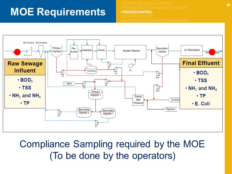 50 MOE Requirements Compliance Sampling required by the MOE (To be done by the operators) Raw Sewage Influent BOD 5 TSS NH 3 and NH 4 TP Final Effluen