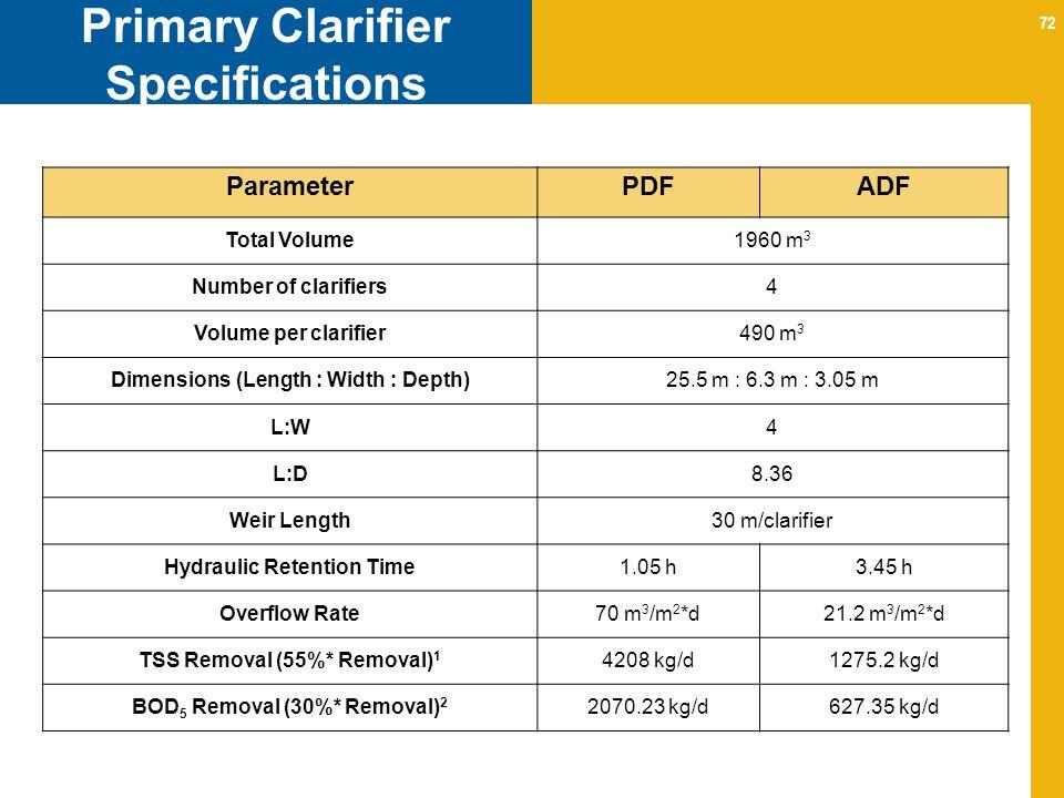 72 Primary Clarifier Specifications ParameterPDFADF Total Volume1960 m 3 Number of clarifiers4 Volume per clarifier490 m 3 Dimensions (Length : Width : Depth)25.5 m : 6.3 m : 3.05 m L:W4 L:D8.36 Weir Length30 m/clarifier Hydraulic Retention Time1.05 h3.45 h Overflow Rate70 m 3 /m 2 *d21.2 m 3 /m 2 *d TSS Removal (55%* Removal) 1 4208 kg/d1275.2 kg/d BOD 5 Removal (30%* Removal) 2 2070.23 kg/d627.35 kg/d