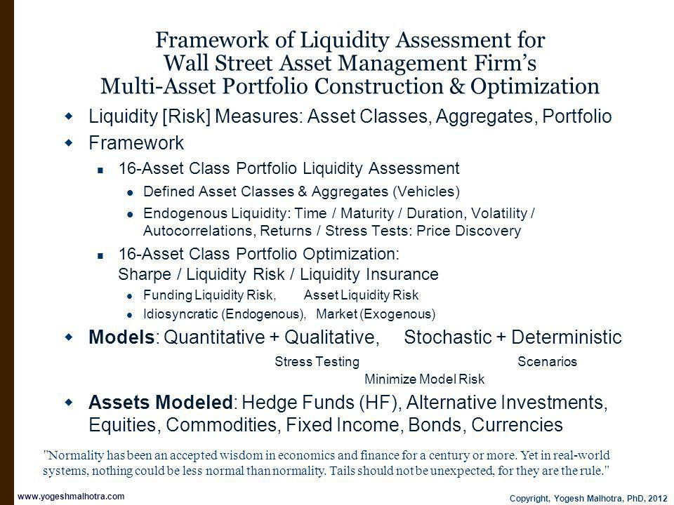 Copyright, Yogesh Malhotra, PhD, 2012 www.yogeshmalhotra.com Framework of Liquidity Assessment for Wall Street Asset Management Firms Multi-Asset Portfolio Construction & Optimization Liquidity [Risk] Measures: Asset Classes, Aggregates, Portfolio Framework 16-Asset Class Portfolio Liquidity Assessment Defined Asset Classes & Aggregates (Vehicles) Endogenous Liquidity: Time / Maturity / Duration, Volatility / Autocorrelations, Returns / Stress Tests: Price Discovery 16-Asset Class Portfolio Optimization: Sharpe / Liquidity Risk / Liquidity Insurance Funding Liquidity Risk, Asset Liquidity Risk Idiosyncratic (Endogenous), Market (Exogenous) Models: Quantitative + Qualitative, Stochastic + Deterministic Stress Testing Scenarios Minimize Model Risk Assets Modeled: Hedge Funds (HF), Alternative Investments, Equities, Commodities, Fixed Income, Bonds, Currencies Normality has been an accepted wisdom in economics and finance for a century or more.