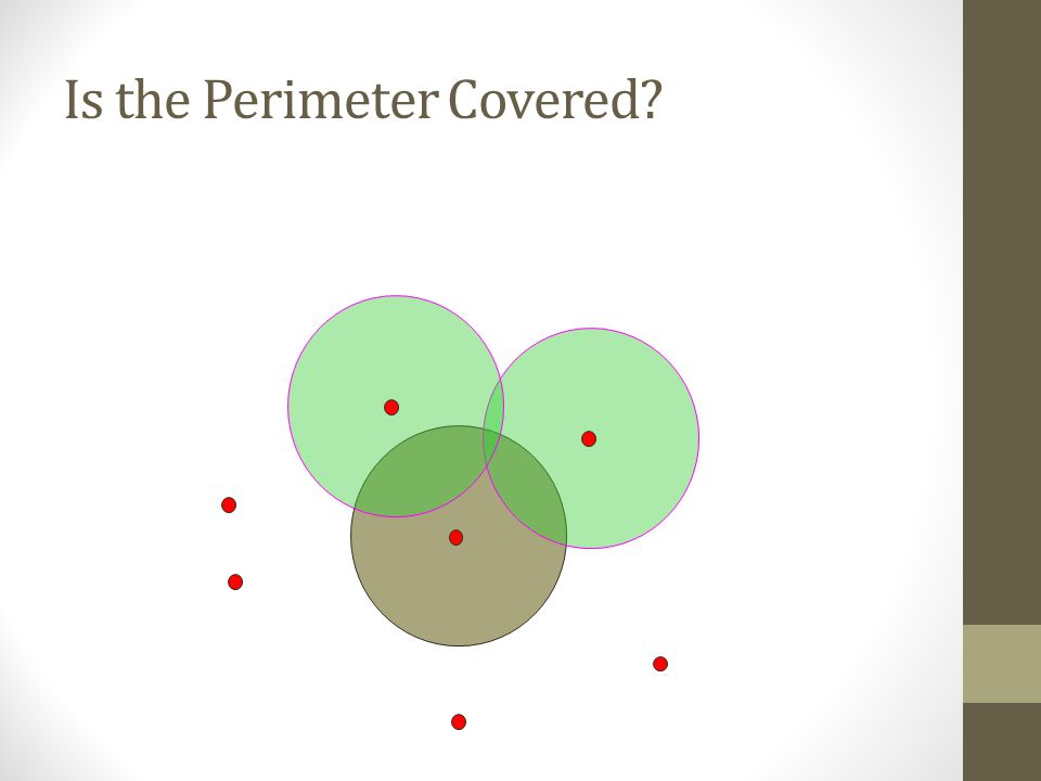 Simple Coverage Problem Given an area and a sensor deployment Question: Is the entire area covered? 6 5 4 3 2 1 7 8 R