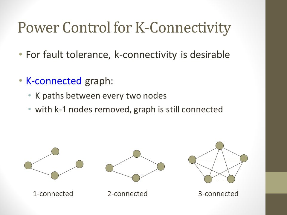 Power Control for Connectivity Adjust transmission range (power) Resulting network is connected Power consumption is minimum Transmission range Homoge