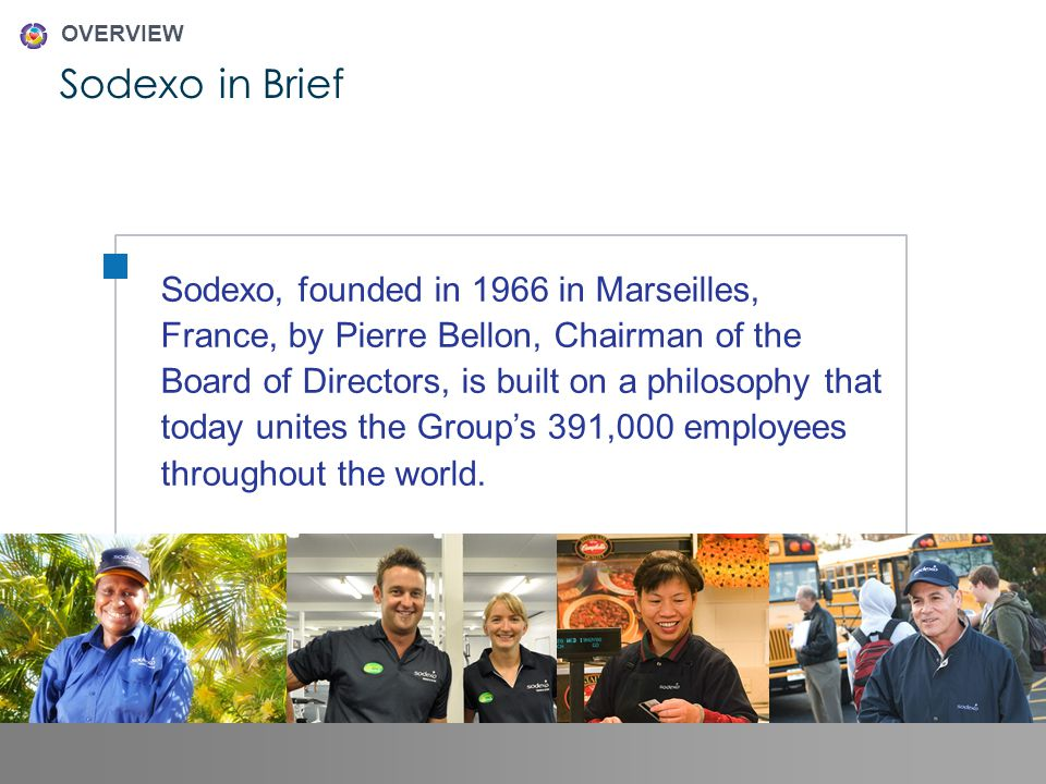 Sodexo in Brief OVERVIEW 2 Sodexo Fiscal 2011 CORPORATE CITIZENSHIP PROGRESS REVIEW Sodexo, founded in 1966 in Marseilles, France, by Pierre Bellon, Chairman of the Board of Directors, is built on a philosophy that today unites the Groups 391,000 employees throughout the world.
