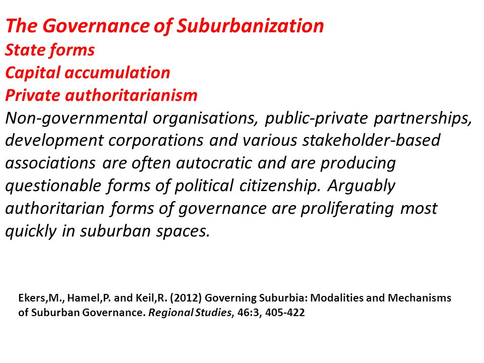The Governance of Suburbanization State forms Capital accumulation Private authoritarianism Non-governmental organisations, public-private partnership