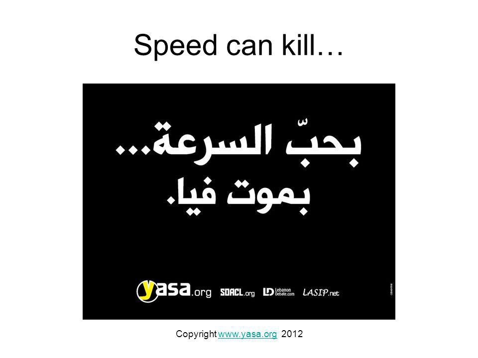 Speed can kill… Copyright www.yasa.org 2012www.yasa.org