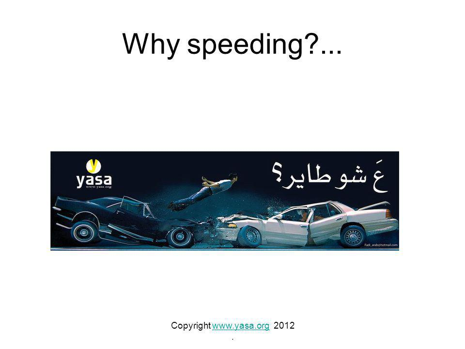 Why speeding?... Copyright www.yasa.org 2012www.yasa.org.