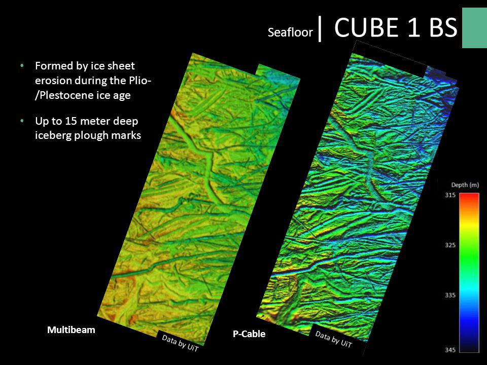 Formed by ice sheet erosion during the Plio- /Plestocene ice age Up to 15 meter deep iceberg plough marks P-Cable Multibeam Seafloor | CUBE 1 BS Data