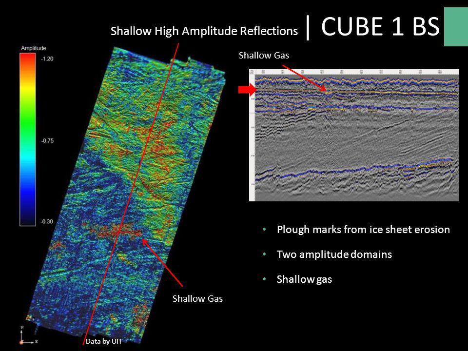 -1.20 -0.30 -0.75 Plough marks from ice sheet erosion Two amplitude domains Shallow gas Shallow Gas Shallow High Amplitude Reflections | CUBE 1 BS Dat