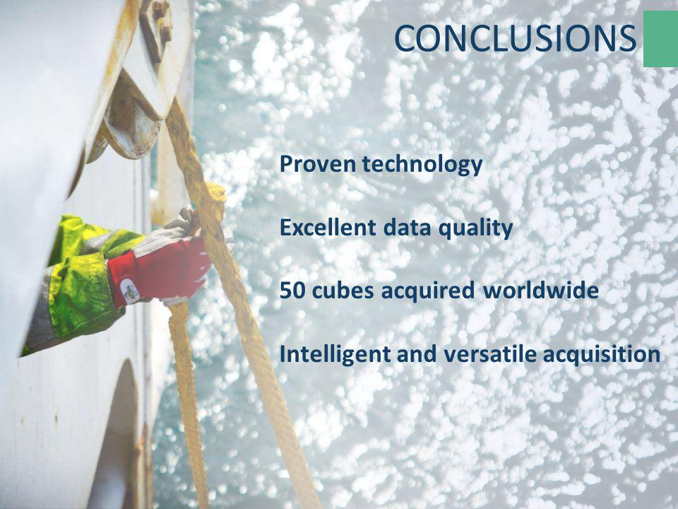 Proven technology Excellent data quality 50 cubes acquired worldwide Intelligent and versatile acquisition CONCLUSIONS