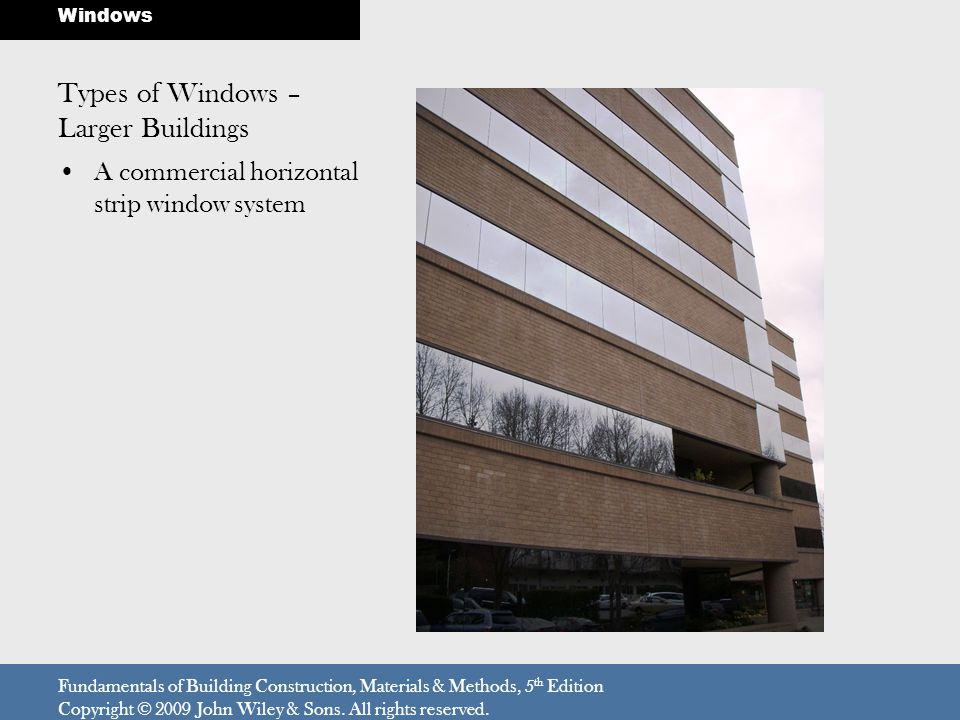 A commercial horizontal strip window system Fundamentals of Building Construction, Materials & Methods, 5 th Edition Copyright © 2009 John Wiley & Son