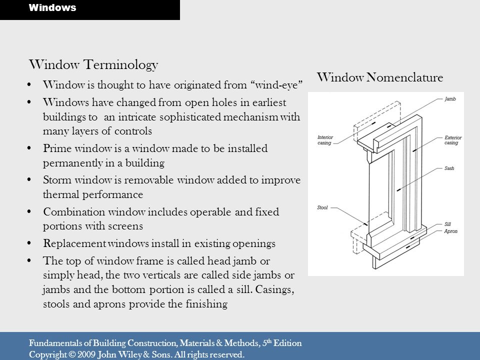 Window Terminology Window is thought to have originated from wind-eye Windows have changed from open holes in earliest buildings to an intricate sophi