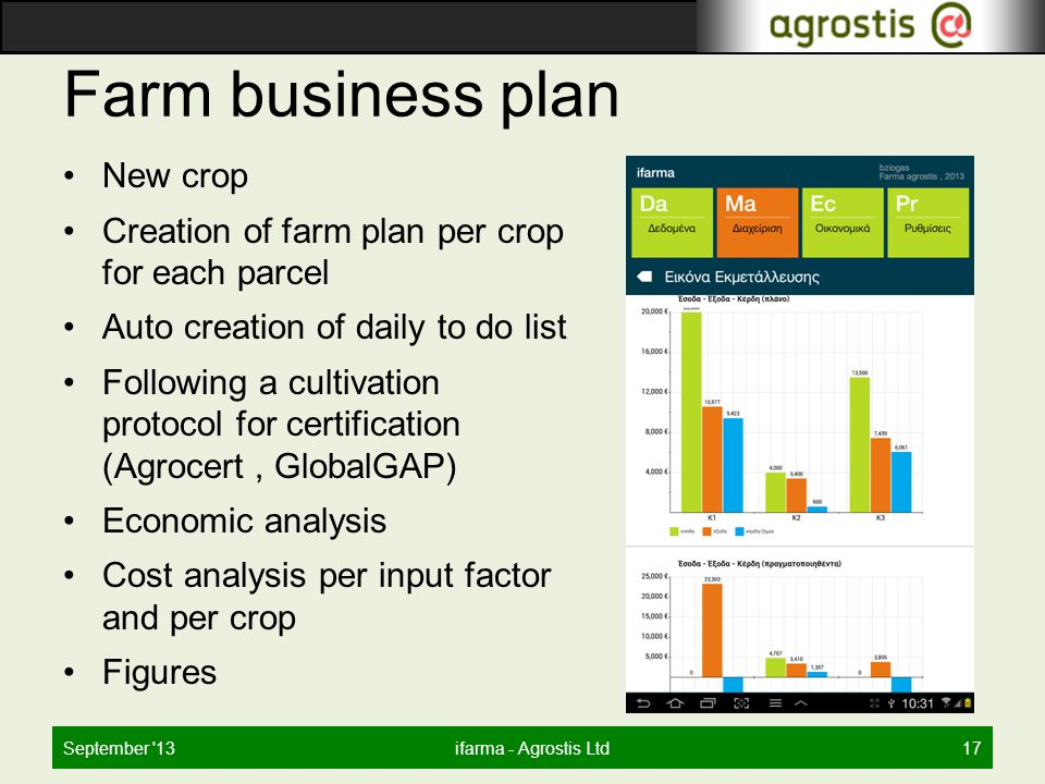 Farm business plan New crop Creation of farm plan per crop for each parcel Auto creation of daily to do list Following a cultivation protocol for certification (Agrocert, GlobalGAP) Economic analysis Cost analysis per input factor and per crop Figures September 13ifarma - Agrostis Ltd17