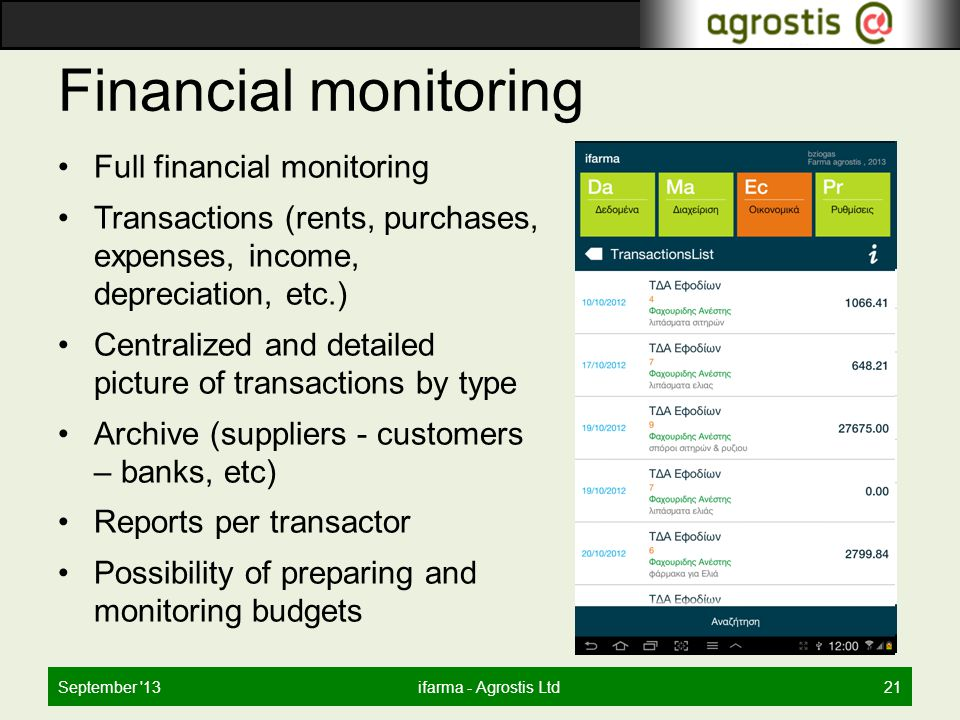 Financial monitoring Full financial monitoring Transactions (rents, purchases, expenses, income, depreciation, etc.) Centralized and detailed picture of transactions by type Archive (suppliers - customers – banks, etc) Reports per transactor Possibility of preparing and monitoring budgets September 13ifarma - Agrostis Ltd21